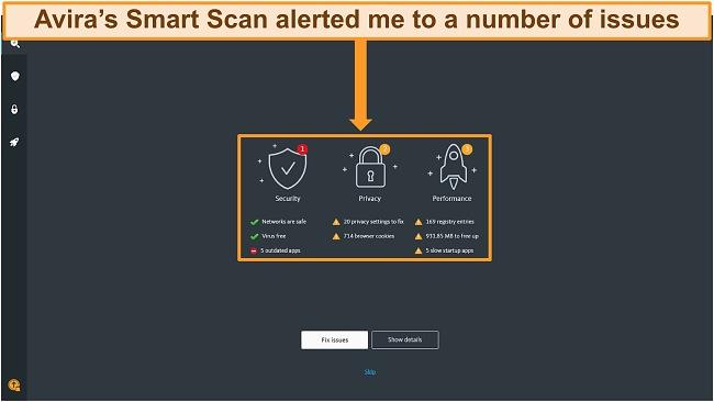 Screenshot of Avira Antivirus Smart Scan results page.