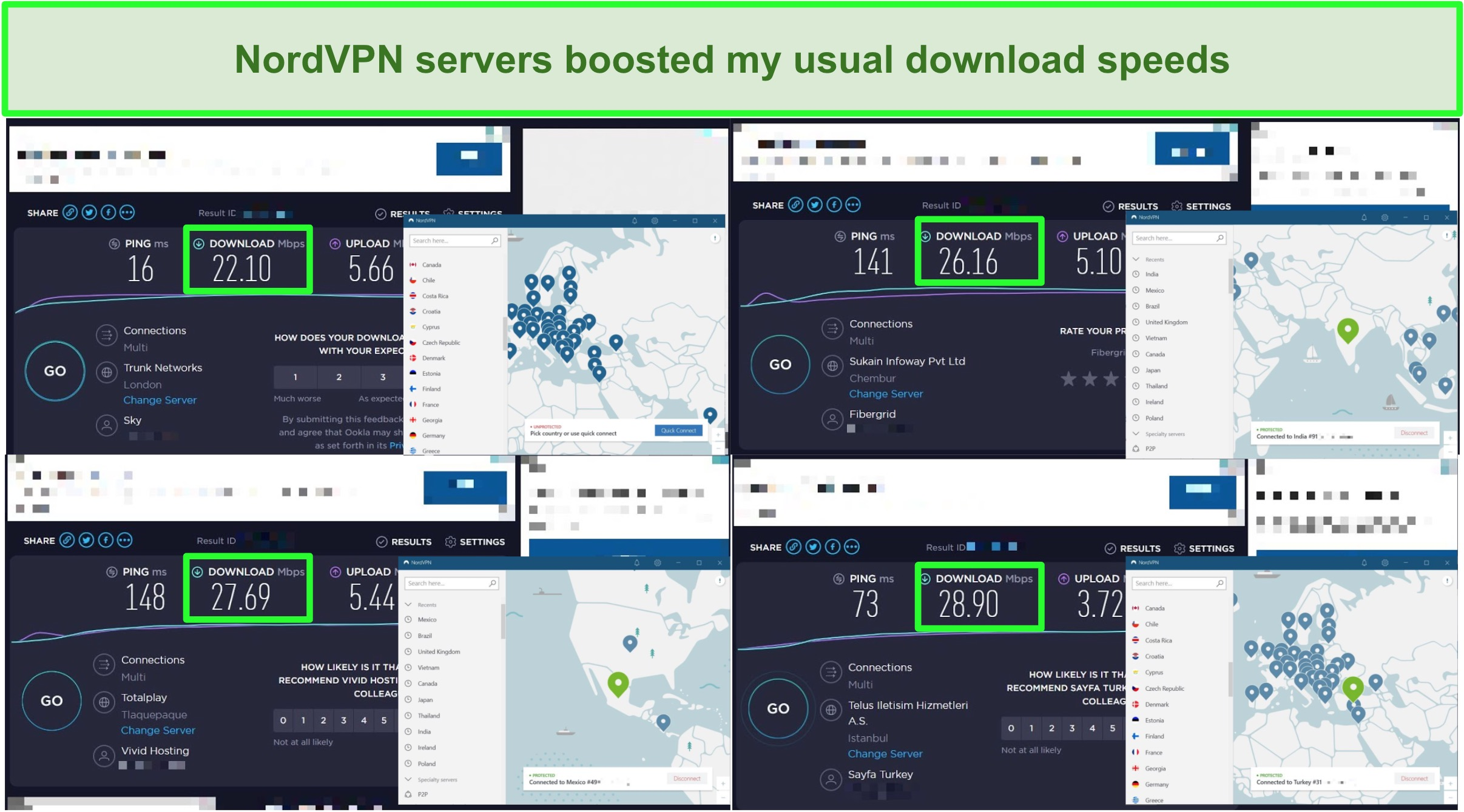Screenshots of 4 speed tests comparing NordVPN server speed to regular traffic speed