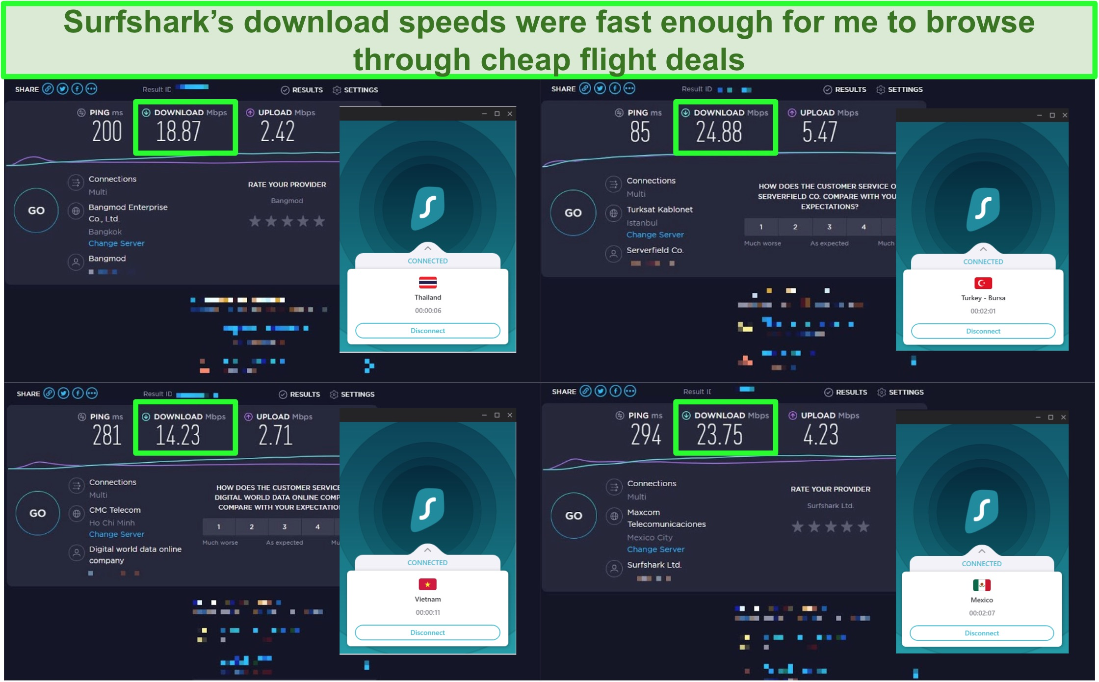 Screenshot of 4 speed tests carried out on different Surfshark servers