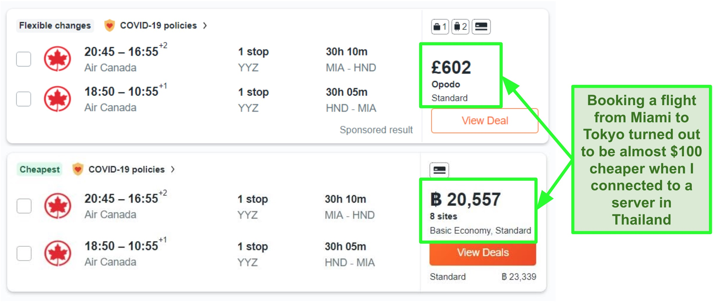 Price comparison of Miami-Tokyo route using servers in the UK and Thailand