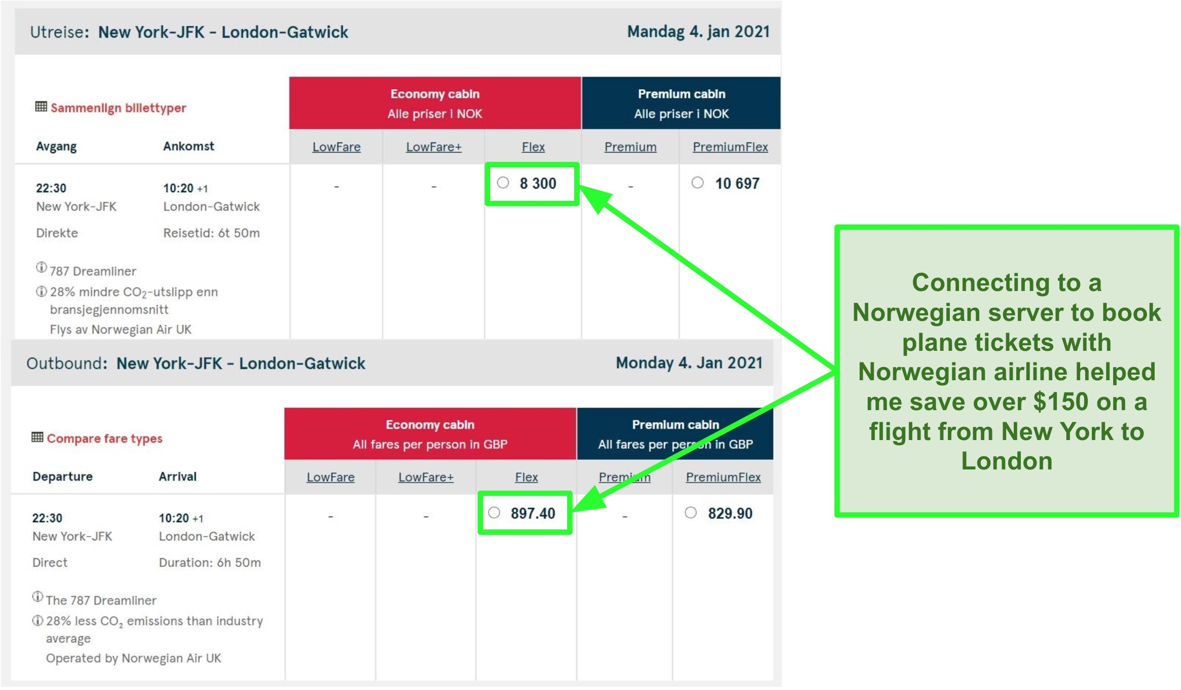 Price comparison of New York-London flights showing differences while connected to servers in Norway and the UK