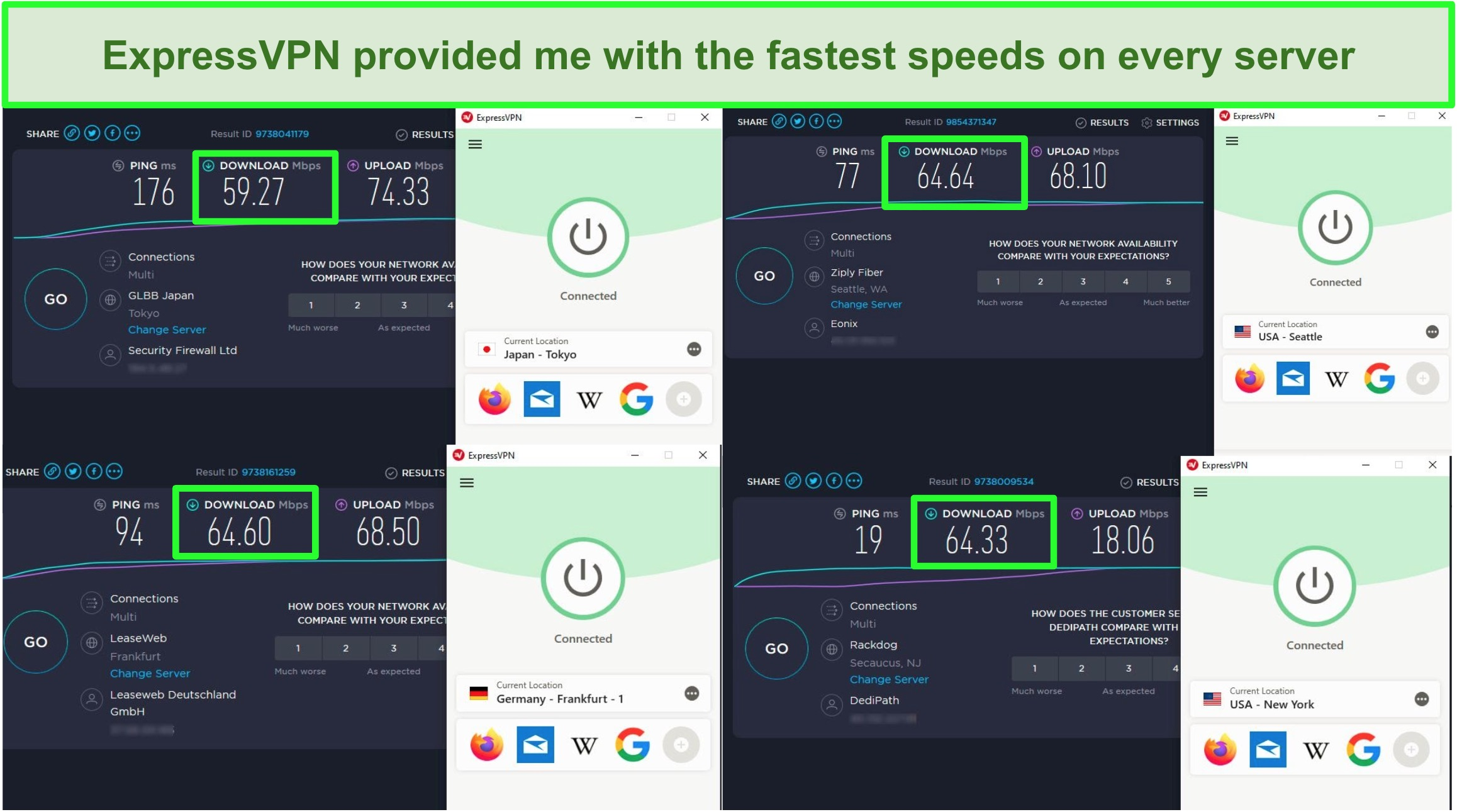 Screenshots of 4 speed tests on ExpressVPN's servers