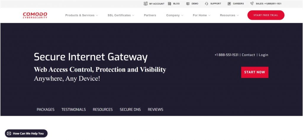 Screenshot of Comodo Secure web page.