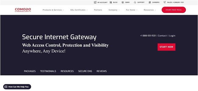 Screenshot of Comodo Secure web page.