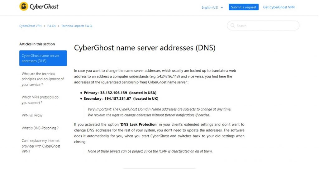 Screenshot of CyberGhost's DNS server web page.