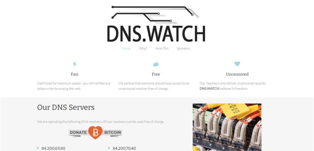 Screenshot of DNS.Watch web page.