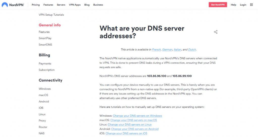 Screenshot of NordVPN DNS Server web page.
