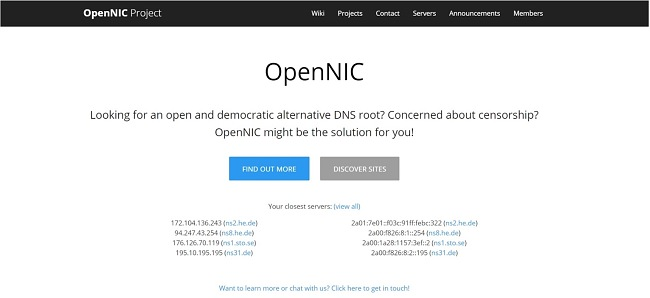 Screenshot of OpenNIC's DNS web page.