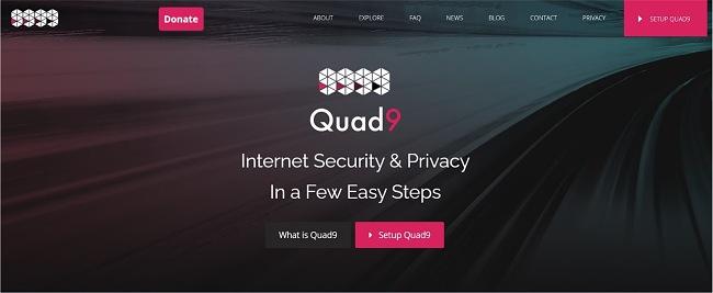 Screenshot of Quad9 web page.