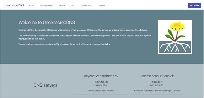 Screenshot of UncensoredDNS web page.