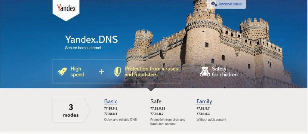 Screenshot of Yandex.DNS web page.