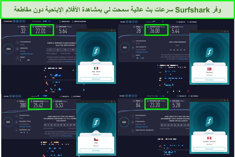 لقطة شاشة لأربع اختبارات سرعة تم إجراؤها على خوادم Surfshark المختلفة