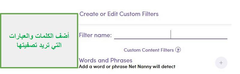 مرشح Net Nanny المخصص