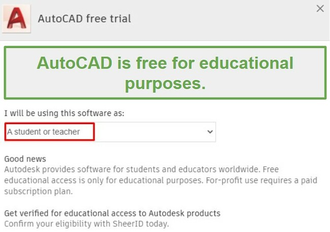 AutoCAD free for education