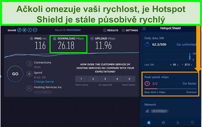 Screenshot výsledků testu rychlosti při připojení k rozhraní Hotspot Shield
