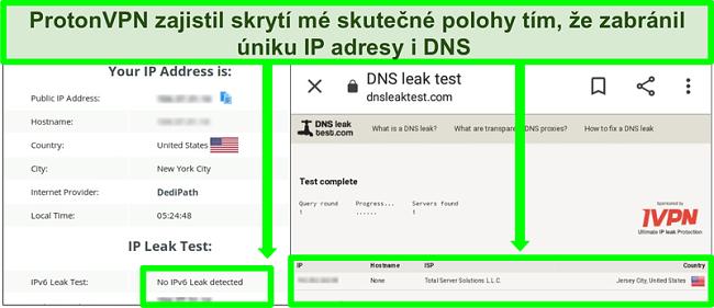 Screenshot testu úniku DNS a IP adresy, který ukazuje, že při připojení k ProtonVPN nedochází k úniku IP adresy