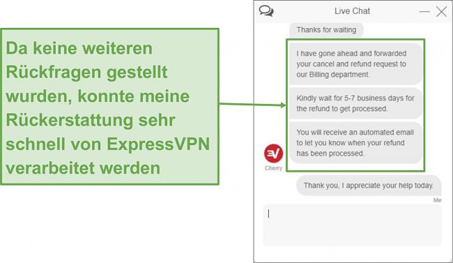 Screenshot des ExpressVPN-Chats zur vollständigen Rückerstattung