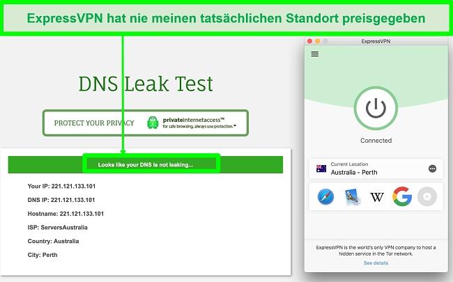 Screenshot zeigt, dass ExpressVPN den DNS-Lecktest bestanden hat