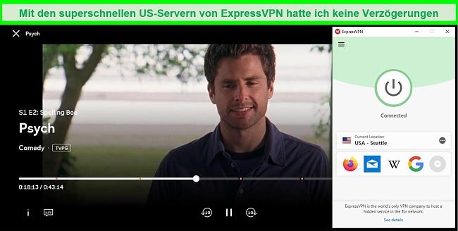 Screenshot von Psych, der auf Peacock spielt, während er mit dem USA Seattle-Server von ExpressVPN verbunden ist