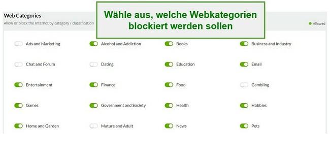 Webkategorien mobilisieren