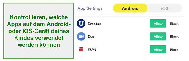 Net Nanny Apps verwalten