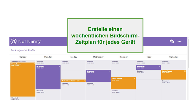 Net Nanny Screen Zeitplan