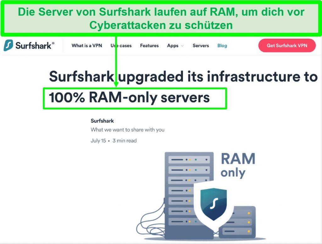 Screenshot der Surfshark-Website zeigt, dass alle Server im RAM ausgeführt werden