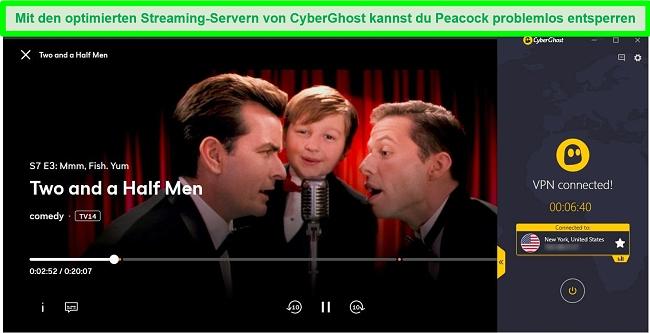 Screenshot von zweieinhalb Männern, die mit einem optimierten CyberGhost Netflix US-Server auf Peacock streamen