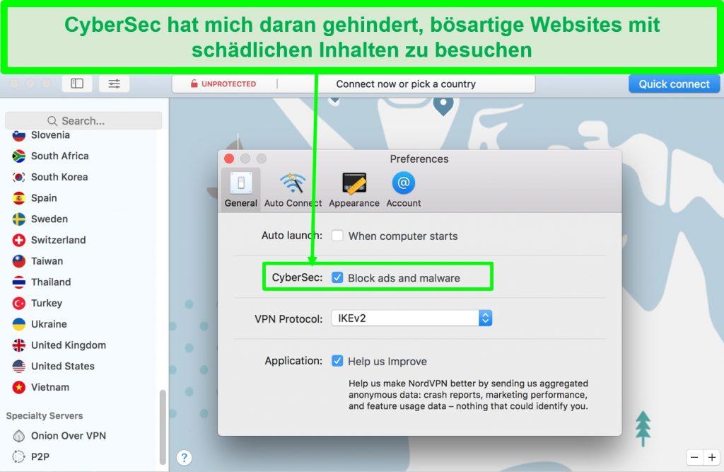 Screenshot der NordVPN-Schnittstelle mit einem Malware-Blocker