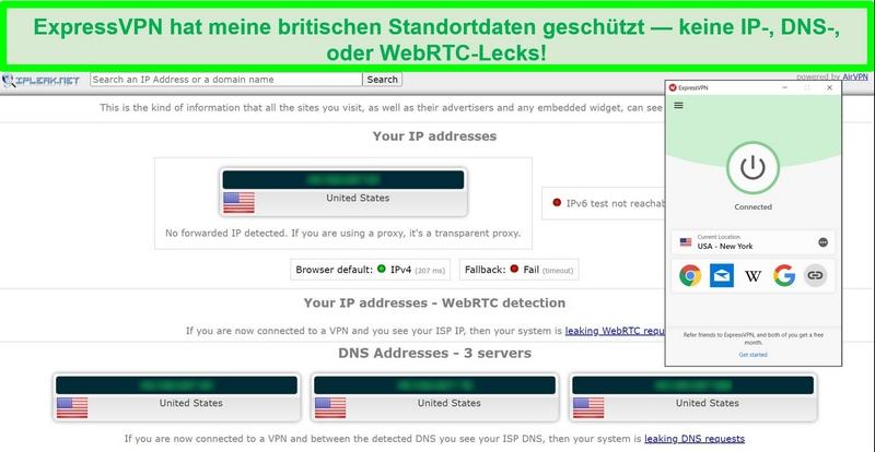 Screenshot des ExpressVPN-Lecktests von IPLeak.net mit null Datenlecks.