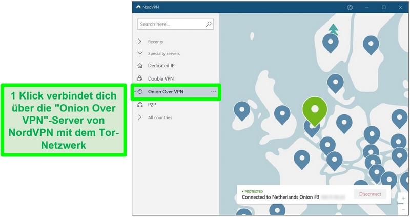 Screenshot von NordVPN, das mit einem Onion Over VPN-Server in den Niederlanden verbunden ist.