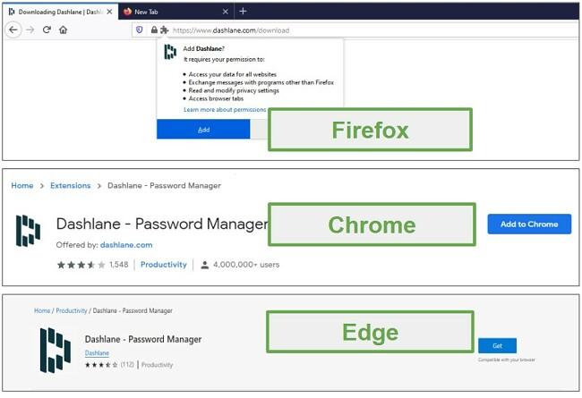 Dashlane browser extensions