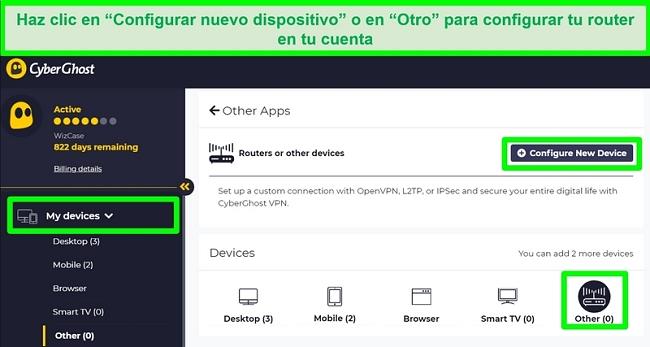 captura de pantalla de las opciones de configuración del enrutador CyberGhost en la configuración de la cuenta.