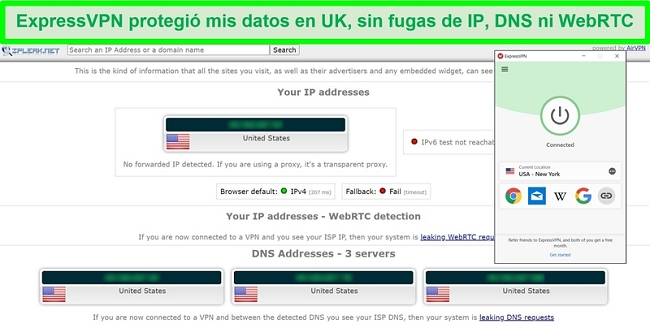 Captura de pantalla de la prueba de fugas de ExpressVPN de IPLeak.net que muestra cero fugas de datos.