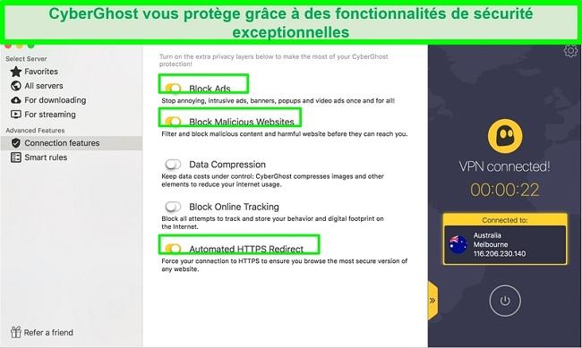 Capture d'écran de l'interface VPN Cyberghost montrant qu'elle possède des fonctionnalités de blocage de logiciels malveillants et de redirection https