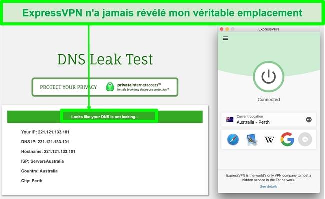 Capture d'écran montrant qu'ExpressVPN a réussi le test de fuite DNS