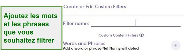 Filtre personnalisé Net Nanny