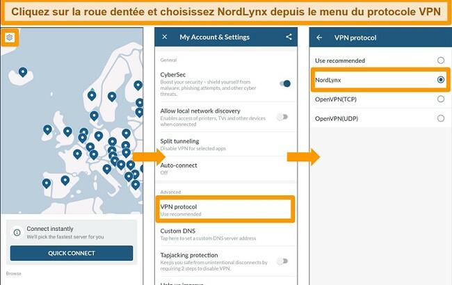 Capture d'écran de l'application NordVPN et des paramètres du protocole VPN sur Android