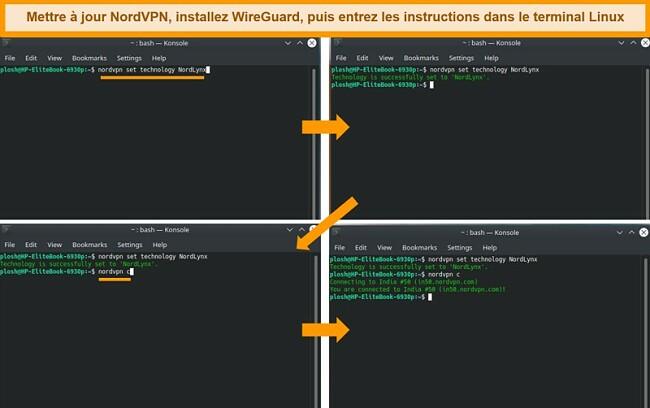 Capture d'écran de l'application Linux NordVPN et des paramètres du protocole VPN