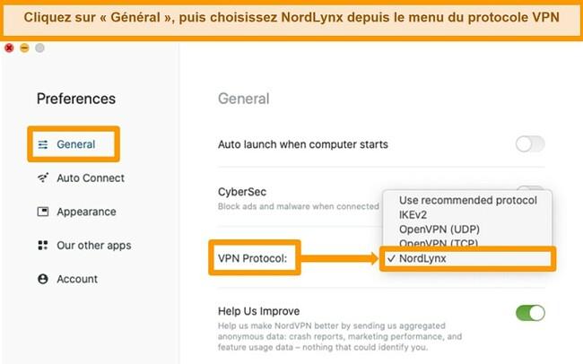 Capture d'écran de l'application NordVPN et des paramètres du protocole VPN sur MacOS