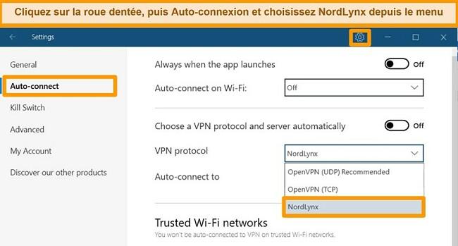 Capture d'écran de l'application NordVPN et des paramètres VPN sous Windows