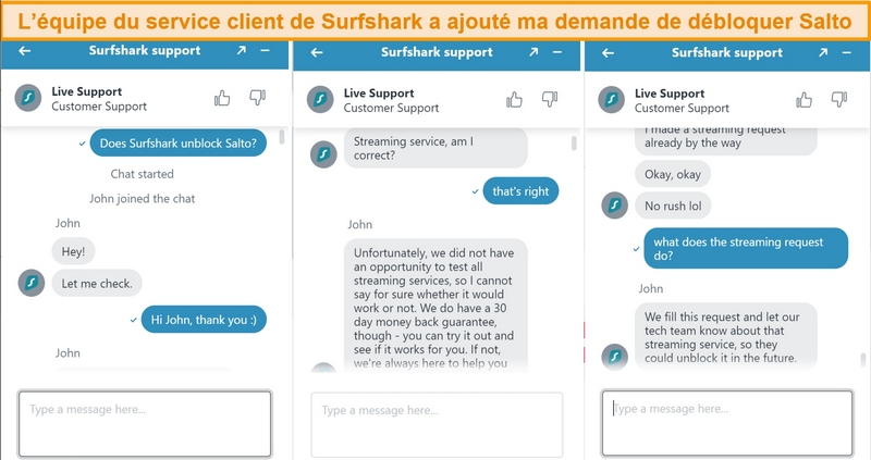 Capture d'écran du chat du support client Surfshark