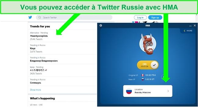 Capture d'écran de Twitter présentant les hashtags tendances en Russie avec HMA VPN connecté