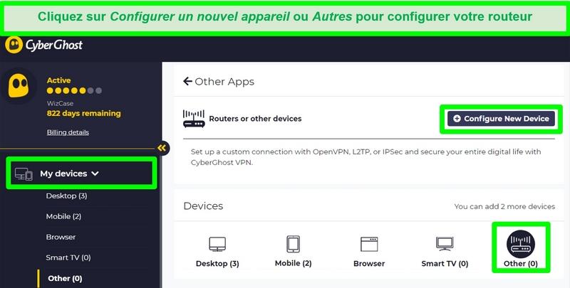 Capture d'écran des options de configuration du routeur CyberGhost dans les paramètres du compte