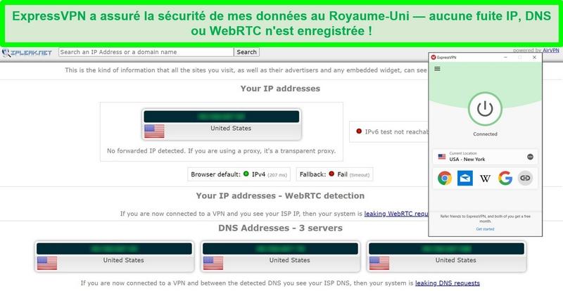 Capture d'écran du test de fuite ExpressVPN d'IPLeak.net ne montrant aucune fuite de données.