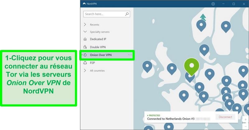 Capture d'écran de NordVPN connecté à un serveur Onion Over VPN aux Pays-Bas.