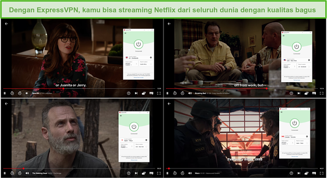Tangkapan layar dari ExpressVPN yang membuka blokir dan streaming dari Inggris (Gadis Baru), Netflix AS (Breaking Bad), Jepang (The Walking Dead), dan Kanada (Waco).