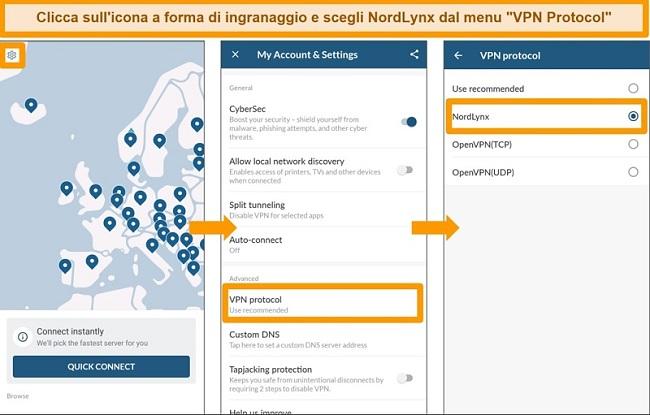 Screenshot dell'app NordVPN e delle impostazioni del protocollo VPN su Android