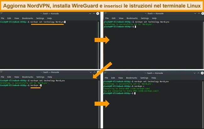 Screenshot dell'app NordVPN Linux e delle impostazioni del protocollo VPN
