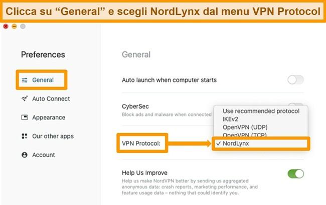 Screenshot dell'app NordVPN e delle impostazioni del protocollo VPN su MacOS